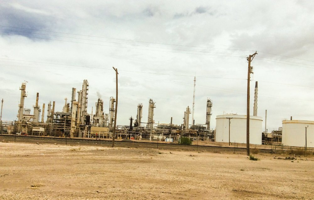 Compressor station in the oil fields. West Texas April 4, 2018