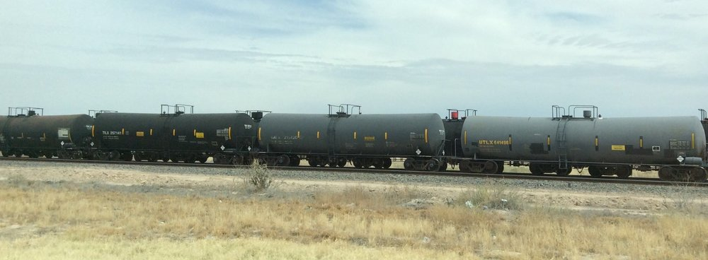 Train cars probably filled with oil. New Mexico April 6, 2018